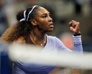 Serena Williams celebrates a winner against Anastasija Sevastova. Photo: Robert Deutsch-USA TODAY...