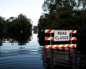 State Highway 76 is blocked by floodwaters in the aftermath of Hurricane Florence. Photo: Reuters