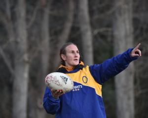 Experienced Otago Spirit utility forward Rebecca Todd gives instructions during a training...