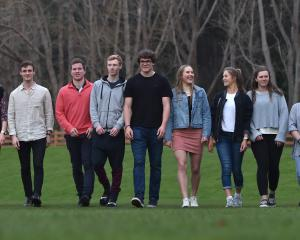 A mixture of year 1 and year 2 Otago Academy of Sport students (from left) Zoe Thomas, Eva...