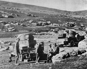 Two of the Allied armoured cars operating in Arabia with the native tribesmen. - Otago Witness,...