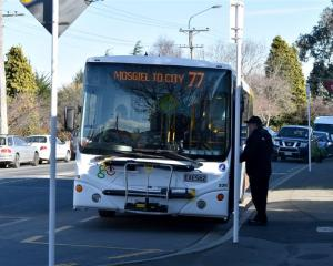 Buses arrive at Green Island, where ''super stops'' are being developed as part of Dunedin bus...