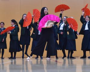 Chinese folk dance teacher Yujia Song, of Christchurch, teaches year 9 Columba College pupils a...