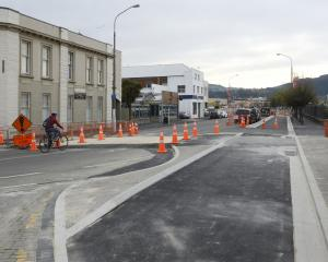 Dunedin's newest cycleway, running along Anzac Ave, is close to completion. PHOTO: GERARD O'BRIEN