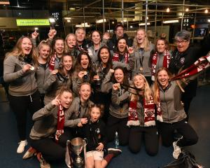 Dunedin Technical celebrating their Kate Sheppard Cup victory are:  back row (from left): Jade...