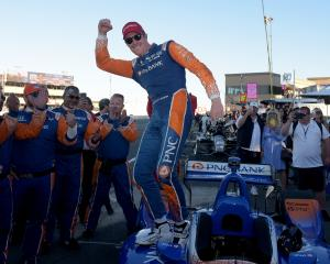 Scott Dixon celebrates taking out his fifth IndyCar Championships in Sonoma, California. Photo:...