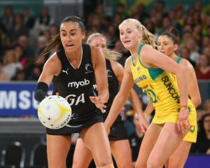 Maria Folau of the Silver Ferns passes the ball during the Quad Series International Test match...