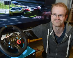 Dunedin man Simon Bishop (28) is screeching into world video game stardom. Photo: Gregor Richardson