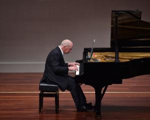 Michael Houstoun performs at the Glenroy Auditorium last night. Photo: Peter McIntosh