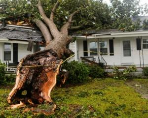 A downed tree rests on a house during the passing of Hurricane Florence in the town of Wilson....