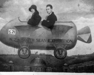 "More attendees in the exhibition's ""airship''. Evelyn Paine and Ralph Johnston seen here became..."