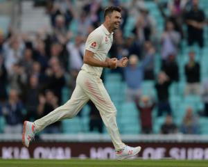 James Anderson celebrates passing Glenn McGrath's most wickets by a fast bowler mark in test...