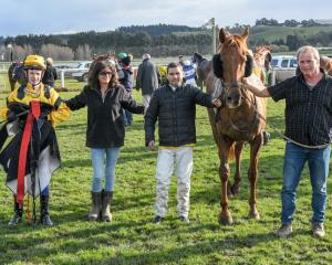 Corey Campbell, Nikki White, Lee Callaway and Michael White after Luvabattle's win at Oamaru last...