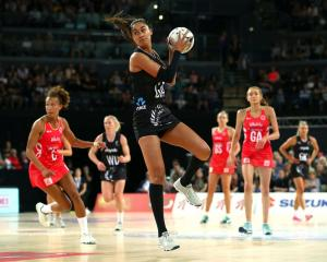 Maria Folau catches the ball for the Silver Ferns against England on Saturday. Photo: Getty Images