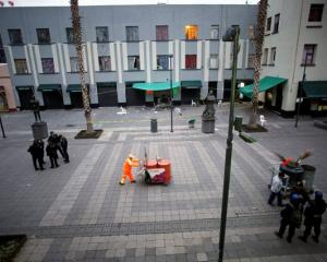 A general views shows a crime scene on the edge of the tourist Plaza Garibaldi in Mexico City....