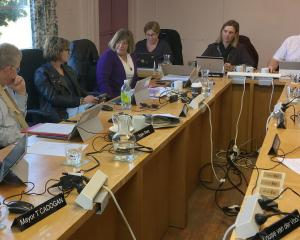 Cromwell Community Board members and Central Otago District Council staff and elected members sit...