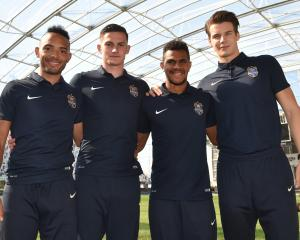 New Southern United signings (from left): Liam MacDevitt, Tony Whitehead, Azariah Soromon and...