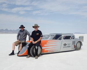 Kiwi Coupe Racing co-owners Owen Jones, of Dunedin (left) and Chris Barnes, of Riverton, sit on...