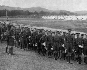 Mess parade at the Otago Boys' High School cadets' camp at Tahuna Park. — Otago Witness, 25.9...