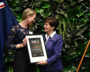 New Zealand Governor-General Dame Patsy Reddy congratulates Women's Sport Leadership Academy...