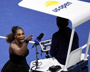 Serena Williams of the United States yells at chair umpire Carlos Ramos. Photo: Reuters