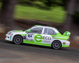 Targa New Zealand titleholders Glenn Inkster and Spencer Winn in their Mitsubishi Evo 8 revelled...