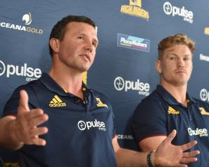 Highlanders coach Aaron Mauger (left) and flanker James Lentjes at a press conference in Dunedin...