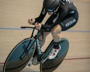 New Zealander Ellesse Andrews on the way to victory in the women's 3000m individual pursuit at...