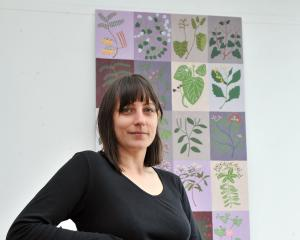 Ayesha Green has moved away from her large-scale works (rear) to try her hand at mosaics and...