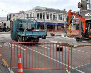 The intersection of Great King and St Andrews streets where bus hub work is taking place. Photo:...