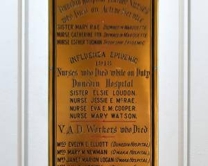 The nurses memorial plaque in the chapel at Dunedin Hospital. Photo: Gregor Richardson