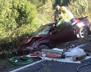 Firefighters work to extract the driver of a car following a crash at Kuri Bush, south of...
