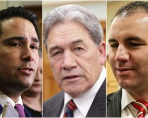 Simon Bridges, Winston Peters and Jami-Lee Ross. Photo: RNZ