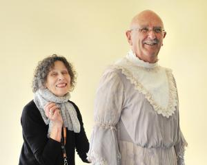 Former Fortune wardrobe mistress Maryanne Wright-Smyth fits Barry Dorking's costume for his...
