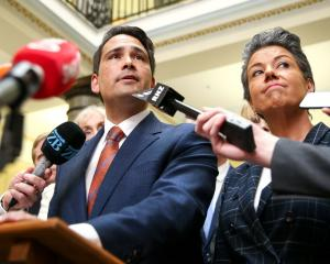 Paula Bennett with National Party leader Simon Bridges as he speaks to media after a caucus...
