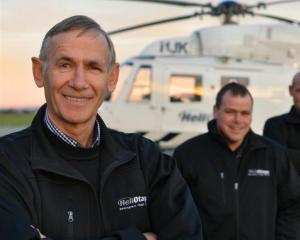 Otago Rescue Helicopter Trust founding pilot Graeme Gale with his sons David and Kevin, who are...