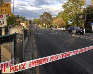 The road is closed to traffic this morning following the incident last night. Photo: Sally Rae