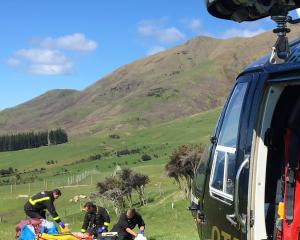 Crew from the Otago Regional Rescue Helicopter attend an incident involving a parapenter...