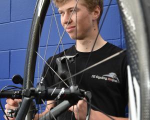 Kees Duyvesteyn checks his bikein preparation for his Tour of Southland debut tomorrow. Photo:...