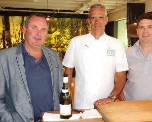 Preparing to shoot a training video at Queenstown's Rata restaurant on Thursday are (from left)...