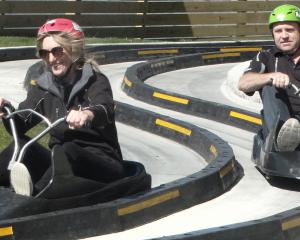 Targa Rally's Victoria Main and Peter Martin lead the pack on the luge track. Photo: Daisy Hudson