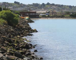 The area where a patch of fuel was seen in the water in  Oamaru Harbour this month. Photo: Hamish...
