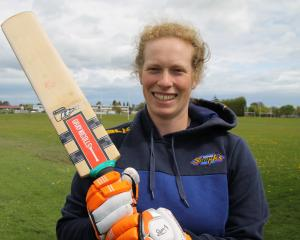 Otago Spirit batsman Millie Cowan prepares for the season with a hit-around in Gore last week....