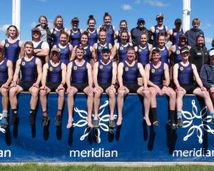 The Otago team after winning its fourth consecutive South Island interprovincial rowing title at...