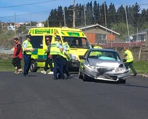 A brief police pursuit ended in a crash in Concord this afternoon. Photo: Stephen Jaquiery