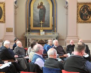 Priests from across Otago and Southland listen to Virginia Noonan, the director of the Catholic...