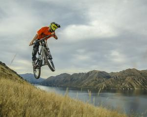 Simon Williams' photograph of mountain biker Tristan Muirhead at Ironside Hill in Wanaka, which...