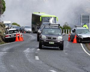 The scene of the crash on State Highway 6, between Kingston and Queenstown, yesterday afternoon....