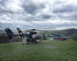 Two Otago Rescue Helicopters at the scene of a crash near Bucklands Crossing this afternoon....