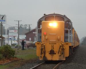 A Taieri Gorge Railway DJ locomotive heads the Suburban Rail Revival train at Mosgiel. Photo:...